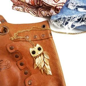 Boho Owl Feather Gold Tone Necklace